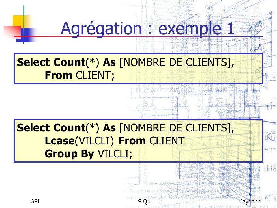Agrégation : exemple 1 Select Count(*) As [NOMBRE DE CLIENTS], From CLIENT; Select Count(*) As [NOMBRE DE CLIENTS], Lcase(VILCLI) From CLIENT.